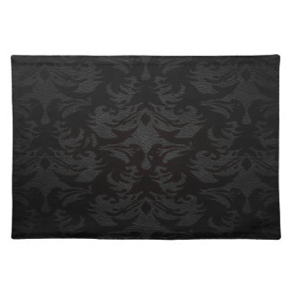 luxury leather look damask placemat