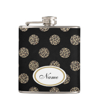 luxury leopard print polka dots leather look hip flask