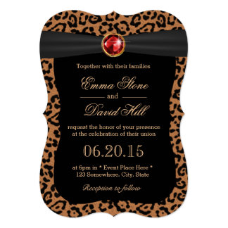 Luxury Leopard Print Ruby Gemstone Wedding Card