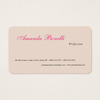Luxury Linen Champagne Pink Plain Minimalist Business Card