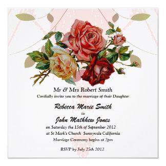 "Luxury Linen Three rose wedding 5.25"" Square Invitation Card"