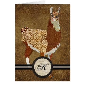 Luxury Llama Monogram Notecard Note Card