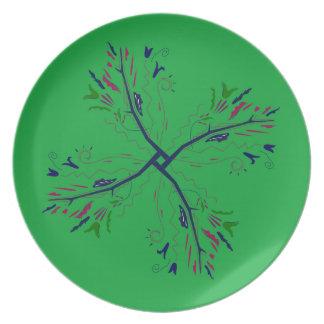 Luxury mandala art Green Plate
