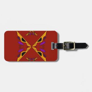Luxury mandala gold brown luggage tag