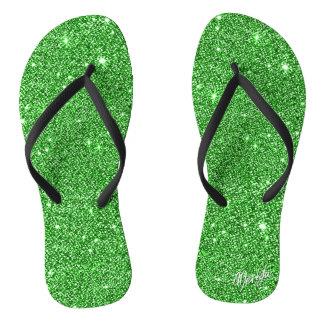 Luxury Meadow Green Glitter Flip Flops / Sandals