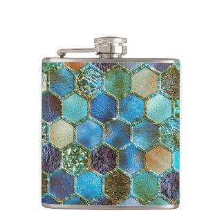Luxury Metal Foil Glitter Aqua Teal honeycomb Hip Flask