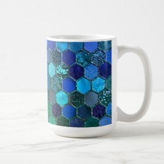 Luxury Metal Foil Glitter Blue Green honeycomb Coffee Mug