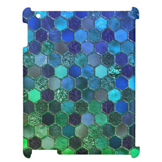 Luxury Metal Foil Glitter Blue Green honeycomb iPad Covers