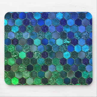 Luxury Metal Foil Glitter Blue Green honeycomb Mouse Pad