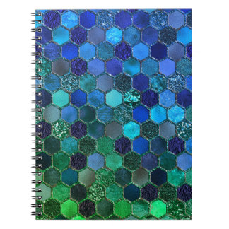 Luxury Metal Foil Glitter Blue Green honeycomb Notebooks