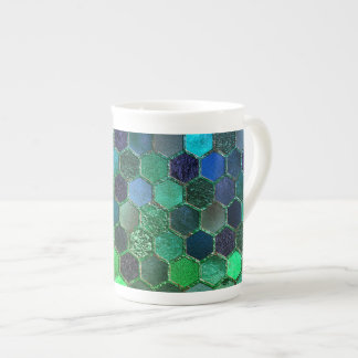Luxury Metal Foil Glitter Blue Green honeycomb Tea Cup
