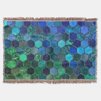 Luxury Metal Foil Glitter Blue Green honeycomb Throw Blanket