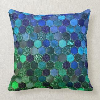 Luxury Metal Foil Glitter Blue Green honeycomb Throw Pillow