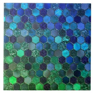 Luxury Metal Foil Glitter Blue Green honeycomb Tile