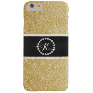 Luxury Monogram Black Belt Gold Glitter Barely There iPhone 6 Plus Case