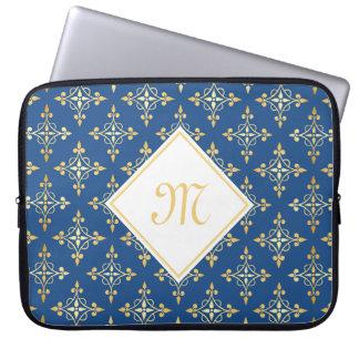 Luxury Monogram Blue and Gold Quatre Floral Laptop Computer Sleeve