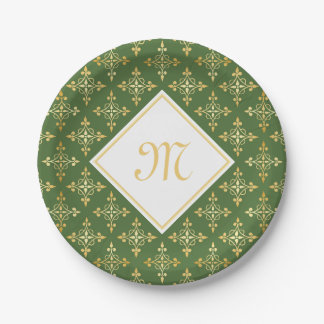 Luxury Monogram Green and Gold Quatre Floral Paper Plate
