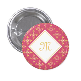 Luxury Monogram Pink and Gold Quatre Floral 1 Inch Round Button