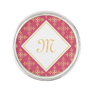 Luxury Monogram Pink and Gold Quatre Floral Lapel Pin