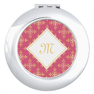 Luxury Monogram Pink and Gold Quatre Floral Mirror For Makeup