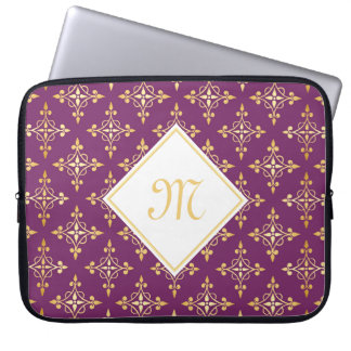 Luxury Monogram Purple and Gold Quatre Floral Laptop Computer Sleeves
