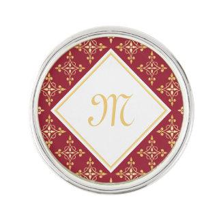 Luxury Monogram Red and Gold Quatre Floral Lapel Pin