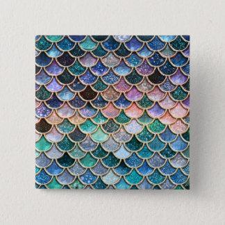 Luxury multicolor Glitter Mermaid Scales 2 Inch Square Button