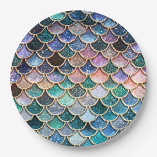 Luxury multicolor Glitter Mermaid Scales 9 Inch Paper Plate