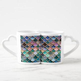 Luxury multicolor Glitter Mermaid Scales Coffee Mug Set