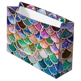 Luxury multicolor Glitter Mermaid Scales Large Gift Bag