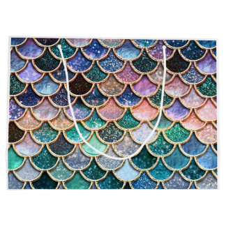Luxury multicolor Glitter Mermaid Scales Large Gift Bag