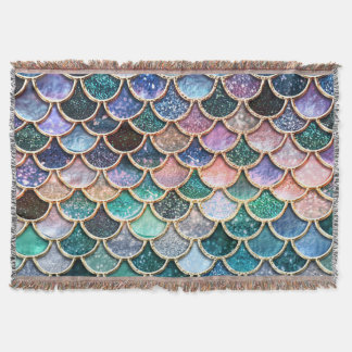 Luxury multicolor Glitter Mermaid Scales Throw Blanket