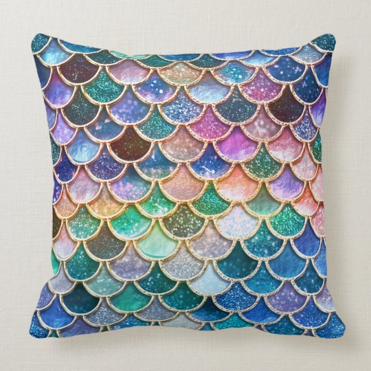 Luxury multicolor Glitter Mermaid Scales Throw Pillow