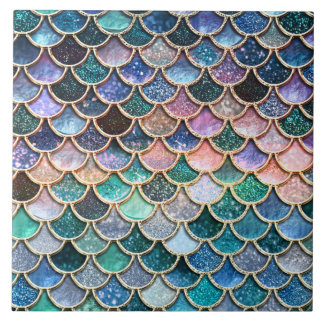 Luxury multicolor Glitter Mermaid Scales Tile