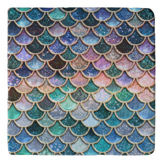 Luxury multicolor Glitter Mermaid Scales Trivet