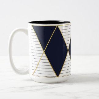 Luxury Navy Blue Gold Stripe Monogram Two-Tone Mug
