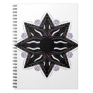 Luxury ornament  black on white spiral notebook