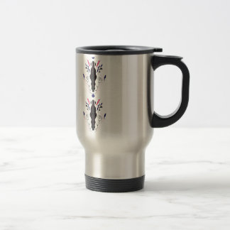 Luxury ornaments black on white travel mug