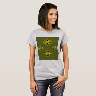 Luxury Ornaments gold green on grey T-Shirt