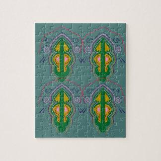 Luxury ornaments green blue jigsaw puzzle