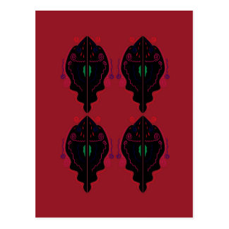Luxury ornaments red black postcard