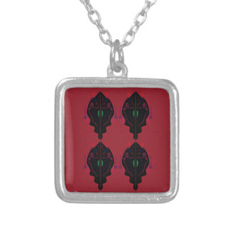 Luxury ornaments red black silver plated necklace