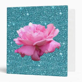 "Luxury Peacock Blue Glitter Rose 1.5"" Binder"
