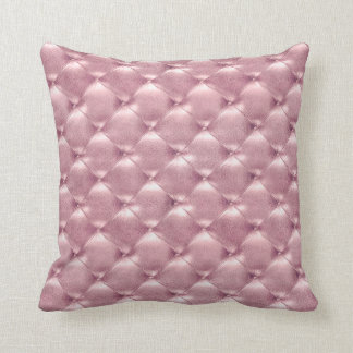 Luxury Pink Rose Blush Tufted Leather Opulent Glam Throw Pillow