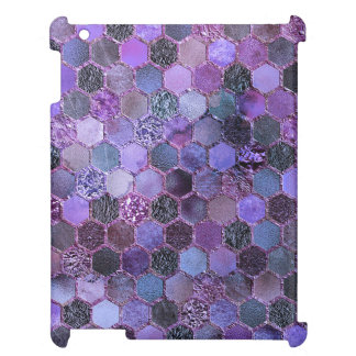 Luxury Purple Metal Foil Glitter honeycomb pattern Case For The iPad 2 3 4