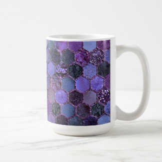 Luxury Purple Metal Foil Glitter honeycomb pattern Coffee Mug