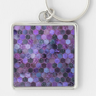 Luxury Purple Metal Foil Glitter honeycomb pattern Keychain