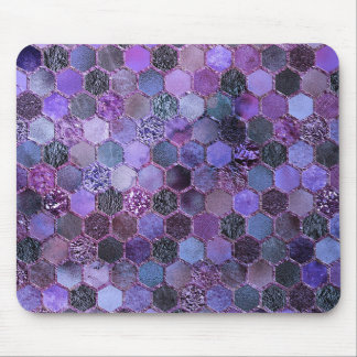 Luxury Purple Metal Foil Glitter honeycomb pattern Mouse Pad