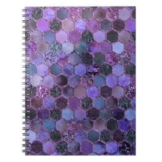 Luxury Purple Metal Foil Glitter honeycomb pattern Spiral Notebook