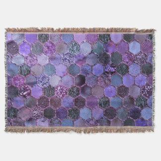 Luxury Purple Metal Foil Glitter honeycomb pattern Throw Blanket